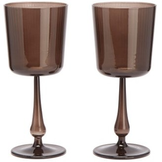 R+D.LAB - X Lee Mathews Set Of Two Luisa Wine Glasses - Light Brown