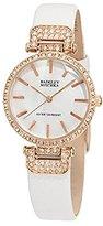 Badgley Mischka Women's BA/1188RGWT Swarovski Crystals Accented White Leather Strap Watch