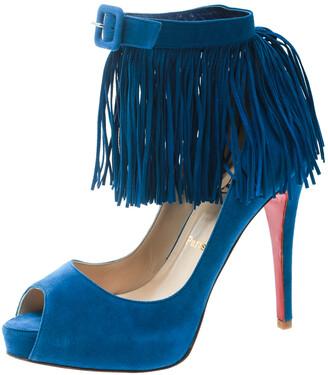Christian Louboutin Cobalt Blue Suede Tina Fringe Detail Ankle Strap Peep Toe Pumps Size 37