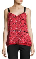 GREY by Jason Wu V-Neck Pleated Abstract-Print Silk Cami, Red