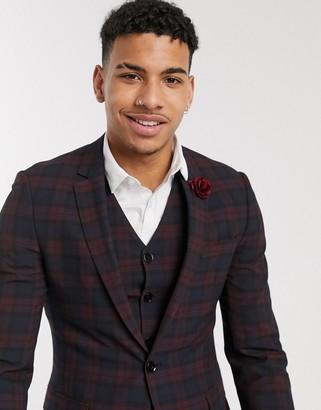 ASOS DESIGN wedding super skinny suit jacket in burgundy tartan