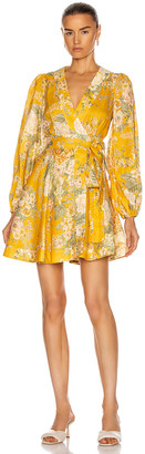 Zimmermann Amelie Wrap Short Dress in Amber Floral | FWRD
