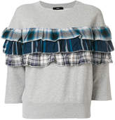 Diesel plaid ruffle detail sweatshirt