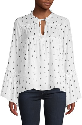 Central Park West Polka Dot Long-Sleeve Blouse