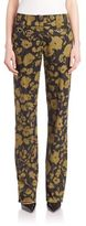 Michael Kors Floral Printed Stretch Cotton Trousers