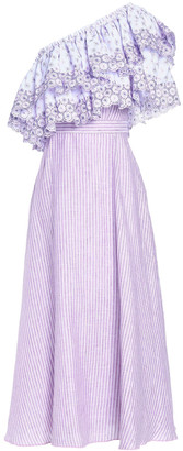 Gül Hürgel One-shoulder Ruffled Printed Cotton And Linen-blend Midi Dress