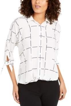 Alfani Petite Printed Tie-Cuff Top, Created For Macy's
