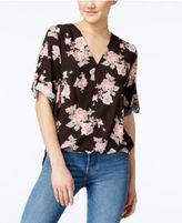 Amy Byer Juniors' Printed High-Low Wrap Top