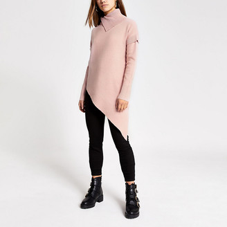 River Island Petite pink asymmetric knitted jumper
