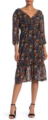 Mimichica Surplice Neck Floral Print Chiffon Dress