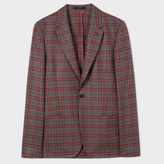 Paul Smith Men's Burgundy And Grey Check Unlined Wool Blazer