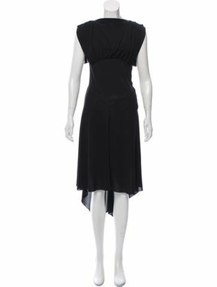 Alaia Draped Sleeveless Midi Dress Black