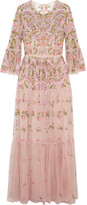 Needle & Thread Dragonfly Embellished Embroidered Tulle Maxi Dress - Blush
