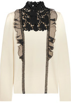 Giambattista Valli Silk-Organza And Guipure Lace-Trimmed Wool Sweater