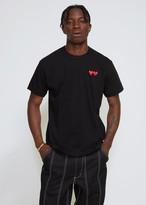 Comme des Garcons Men's Double Heart T-Shirt in Black Size Medium