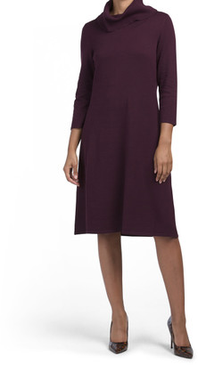 Cowl Neck Fit Flare Sweater Dress