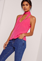 Missguided Neck Scarf Cami Top Pink