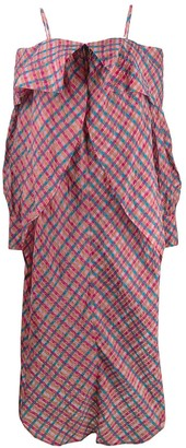 Eckhaus Latta off-shoulder ruffle maxi dress