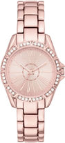 Liz Claiborne Womens Rose-Tone Roman Numeral Watch