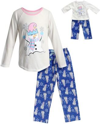 Dollie & Me Girls 4-14 Snowman Top & Bottoms Pajama Set & Doll Pajamas
