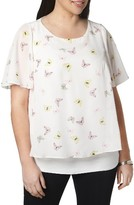 Evans Plus Size Women's Butterfly Print Overlay Top