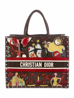 Christian Dior Suede Book Tote Brown
