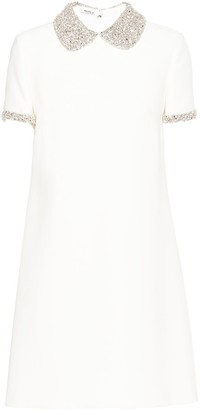 Miu Miu Cady crystal-embellished collar dress