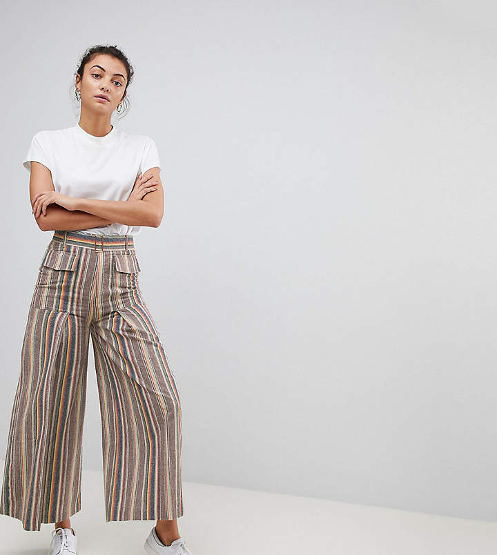 Asos Tall Design Tall Wide Leg Soft Trousers With Pleats In Stripe