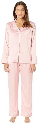 Coobie Undie Couture by Satin Pajama Set (Pink) Women's Pajama Sets