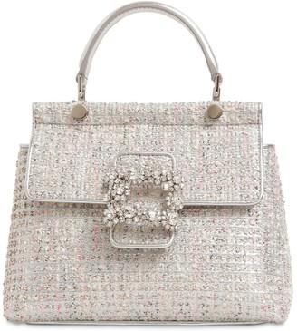 Roger Vivier Mini Viv Cabas Flower Crystal Tweed Bag