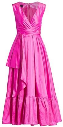 Talbot Runhof Silk Taffeta Faux-Wrap Tea-Length Gown