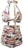 Qiaoer Women Plus Size Vintage Polka Dot Halter High Waisted Bikini Swimsuit Set (XL, )