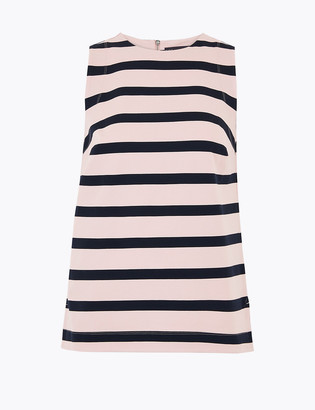Marks and Spencer Ponte Striped Sleeveless Shell Top