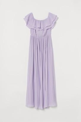 H&M Pleated Long Dress - Purple
