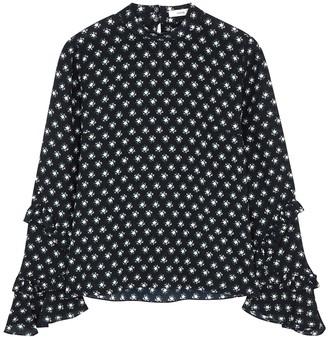 Erdem Louella navy printed silk top