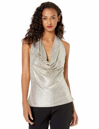 Ramy Brook Women's Gold FOIL DEE Halter TOP Extra Small