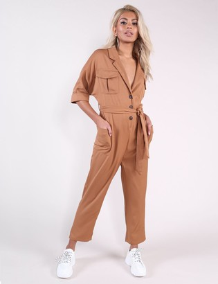 Public Desire Uk Camel Horn Button Utility Jumpsuit