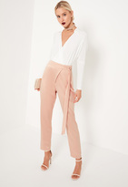 Missguided Nude Satin Tie Waist Wrap Front Cigarette Trousers