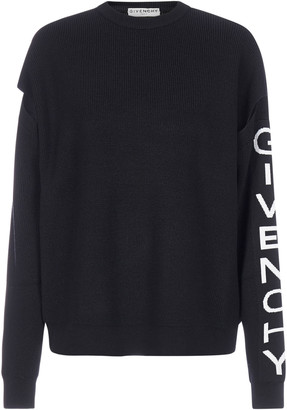 Givenchy Logo And Cut-out Sleeves Wool Sweater