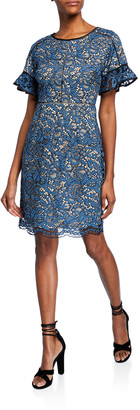 Shani Crewneck Flare-Sleeve Lace Cocktail Dress