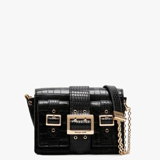 Michael Kors Hayden Crocodile Embossed Black Leather Messenger Bag