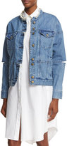Public School Dani Cutout Denim Jacket, Blue