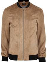 River Island Mens Big and Tall Beige faux suede bomber jacket