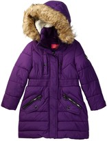 Catherine Malandrino Faux Fur Trimmed Hooded Long Bubble Jacket (Little Girls)