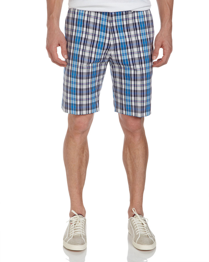 Bobby Jones Plaid Golf Shorts, Electric Blue