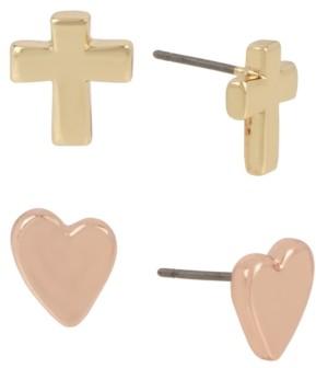Robert Lee Morris Soho Two-Tone 2-Pc. Set Cross & Heart Stud Earrings