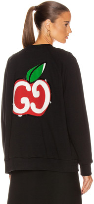 Gucci Apples Long Sleeve Sweater in Black & Multicolor | FWRD