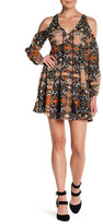Romeo & Juliet Couture Lace Up Cold Shoulder Printed Dress