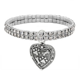 2028 Silver-Tone Two Row Crystal Stretch Bracelet with Paw and Bones Heart Charm