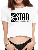 Rong T-shirts Women's Star-labs-logo Crop Top Navel T Shirt